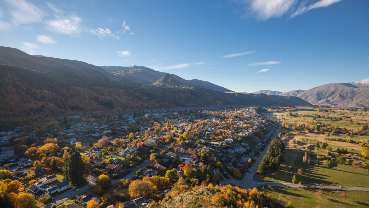 Arrowtown in Autumn from Feehly Hill