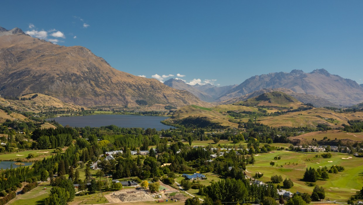 View of Lake Hayes and Millbrook Resort from Feehly Hill, Arrowtown
